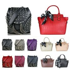 Retro Leather Skull Embossed Studded Goth Backpack Shoulder Bag Handbag Tote