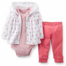 New Carter's 3 Piece Coral Flower Cardigan Bodysuit & Pant Set NWT 3m 6m 9m 12m