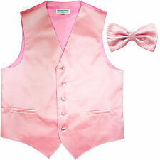 New formal men's tuxedo vest waistcoat & bowtie horizontal stripes pink wedding