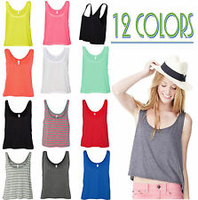 Bella Ladies Maxine Flowy Boxy Cropped  Women Tank Top T-Shirt Womens S -XL 8880