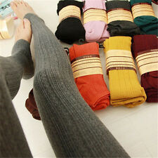 Womens Knitted Stirrup Leggings Cotton Warm Full Length Winter Thick Tight Pants