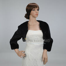 Ivory/Black Faux Fur 3/4 Sleeves Wedding Wrap Coat Shrug Bolero Bridal Shawl S-L