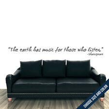 The Earth Has Music, Shakespeare Wall Decal -  Vinyl Sticker