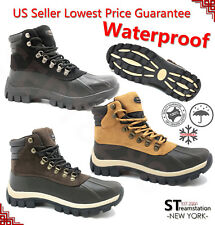 FREE SOCKS Kingshow Mens Snow Winter Work Boots Shoes Leather Waterproof 0705