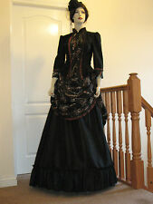 LADIES VICTORIAN STYLE  BUSTLE SKIRT OUTFIT (BLACK & BRONZE)