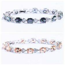 Rainbow Topaz Morganite CZ Silver Chain Bracelet For Women Jewelry Gem NS628-29