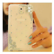 For Samsung Galaxy Phone Bling Crystal Rhinestone Flower Luxury Clear Hard Case