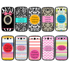 Custom Personalized Damask Name TPU Bumper Hard Case For Samsung Galaxy S3 S4 S5