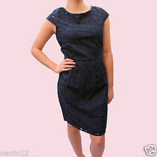 NEXT NAVY  EMBROIDERED FLORAL  LACE ANGLAISE SHIFT SUMMER DRESS