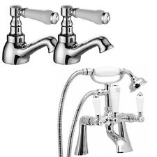 Traditional Bath Filler Tap Shower Head Hot Cold Basin Tap Pack KENSINGTON