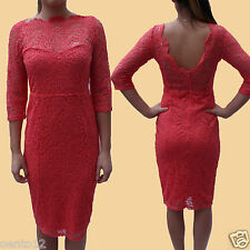 NEXT Premium Coral Vintage Inspired Lace Open Back Bodycon Wiggle Cocktail Dress