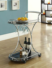 NEW Vintage Rolling Tea Glass Metal Beverage Bar Serving Cart Patio Drink Tray