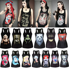 Women Print Stretchy Black Singlet Gothic Racerback Tank Top Vest T-Shirt Blouse