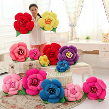Fancy 3D Rose Flower Pillow Plush Toy Car Chair Cushions Valentine's Day Decor