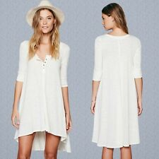 Fashion Half Sleeve Loose Casual T-shirt Tops Women's High Low Dress Night Gown
