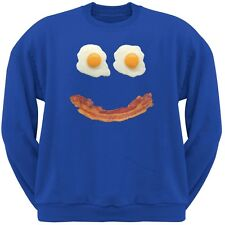 Mr. Happy Smiley Face Bacon And Eggs Blue Adult Crew Neck Sweatshirt