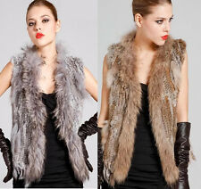 Real Farm Rabbit Fur Waistcoat/Vest/Gilet with Raccoon Collar Tassel Top Quality
