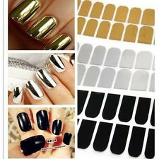 16pcs Foil Gel Nail Art Sticker Decal Patch Wraps Decoration Golden Black Silver