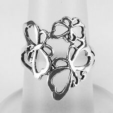 Pure Solid 925 Sterling Silver Batterfly Band Ring #6.5, #7.5 (sr13)