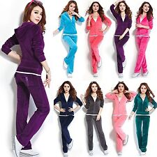 Womens Velour Hoodie+Pant Tracksuit Sport Yoga Running Sweat Suit S-4XL Colorful