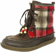 Roxy Juniors Plaid Canoe Boots-Brown/Red
