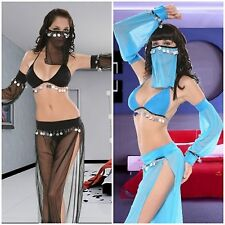 NEW Arabian Dancer Costume | 5 Piece Role Play Black or Blue + FREE UK SHIPPING
