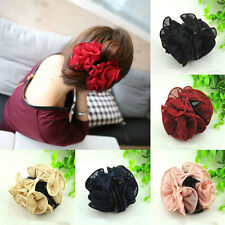 Women Large Chiffon Rose Flower Bow Claw Clip Clamp Barrette Hair Accessory CC