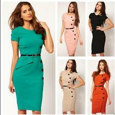 Women Vintage Rockabilly Pinup Party Pencil Bodycon Fitted Shift Sheath Dress