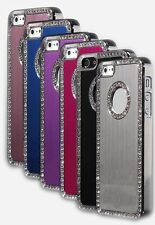 New Brushed Metal with Bling Rhinestones Chrome Case Skin Cover  for iPhone 5 5S