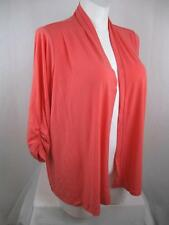 Susan Graver Plus Size Liquid Knit Open Front Cardigan with Ruched Sleeves