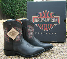 NEW Ladies Harley Davidson Emma Lee Black Leather Western Cowboy Boots D83507