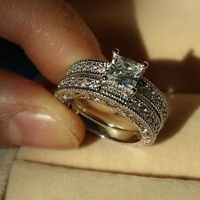 Antique White Sapphire Diamonique 10KT Gold Filled Wedding Ring Set Sz 5-12 Gift