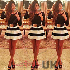 UK WOMEN CELEBRITY SEXY STRIPES BANDAGE FLARE SKATER COCKTAIL BODYCON MINI DRESS