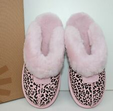 Ugg Coquette Rosette English Primrose pink leopard women's slippers shoes New!