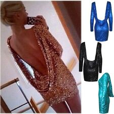 Sexy Womens Backless Vintage Sequin Glitter Backless Bodycon Party Mini Dress