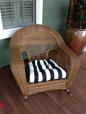 """24"""" X 24"""" X-Large Universal Tufted Cushion for Wicker Chair ~ Stripes or Prints"""