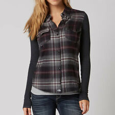 Fox Racing Brushfire Womens Long Sleeve Flannel Shirt Black