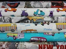 Cotton Prints New York Camper Vans Taxi Curtain Upholstery Craft Designer Fabric