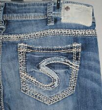 NEW SILVER JEANS woman AIKO mid-rise distressed BOOT cut JEANS *W 34 x L 33