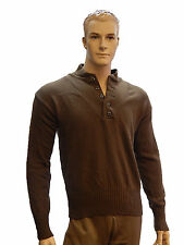"Men's Military Issue OD Brown Army V-Neck Button Pullover ""Jeep"" Sweater  S,L,XL"