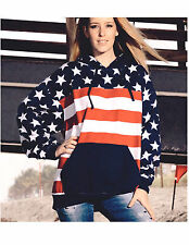 American Flag USA Hooded Plain  Sweatshirt Men Women Pullover Hoodie Fleece