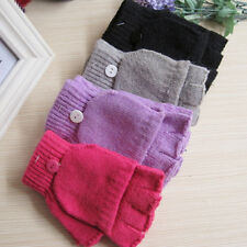 Unisex Winter Warm Thermal Fingerless Gloves Half Finger Flip Knitted Mittens