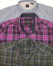 NWT HUGO BOSS LUCAS SHIRT $145-165 REGULAR FIT STRIPED / PLAID  GRAY PURPLE BLUE