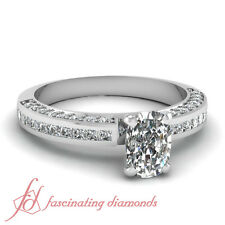 1.05 Ct Cushion Cut Diamond Engagement Ring Pave & Channel Set FLAWLESS 14K GIA