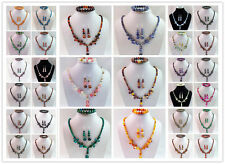 Fashion Mixed Round Gemstone Beads Necklace Earrings Bracelet Sets LX-122