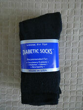Mens Diabetic Crew Socks Black 10-13 Pick Your Qty / Lot MADE IN USA