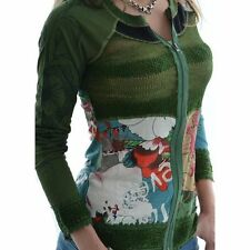 "Desigual Long Sleeve Top ""Margi"" - Green - Zip Front - Cardigan - Size M and XL"