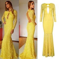 Sexy Women Lace Backless Long Sleeve Floor-Length Mermaid Party Ballgown Dress