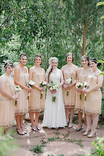 UK6 TO UK24 Nude Blush Vintage 1920s Flapper Gatsby Downton Abbey Beaded Dress