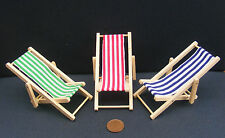 1:12 Scale Dolls House Miniature Foldable Wooden Deckchair Garden Accessory